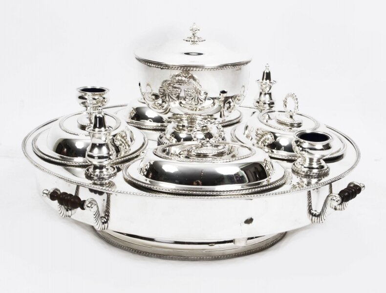 Silver plated tray | Lazy Susan silver tray | Ref. no. 01360 | Regent Antiques