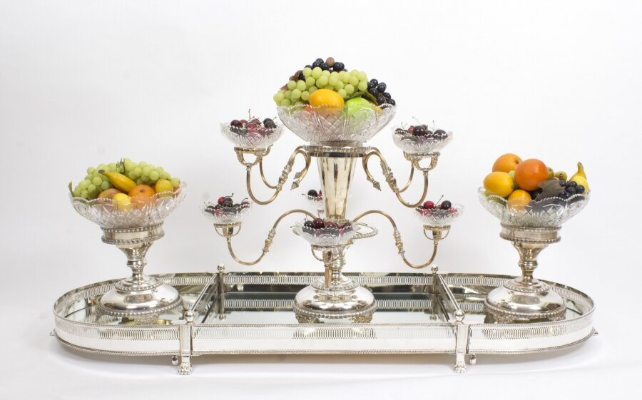 Silver Plate Cut Glass Surtout de Table Set | Silver Surtout de Table Set | Ref. no. 01361 | Regent Antiques