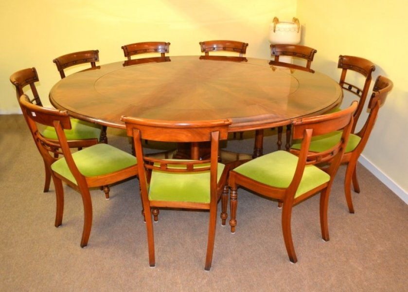 Bespoke 7ft Regency Flame Mahogany Jupe Dining Table & 10 chairs 21st C | Ref. no. 01393A | Regent Antiques