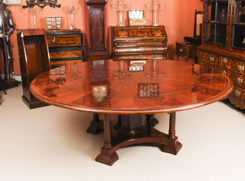 Bespoke 7ft Diameter Flame Mahogany Jupe Dining Table & Leaf Holder  21st C | Ref. no. 01393d | Regent Antiques