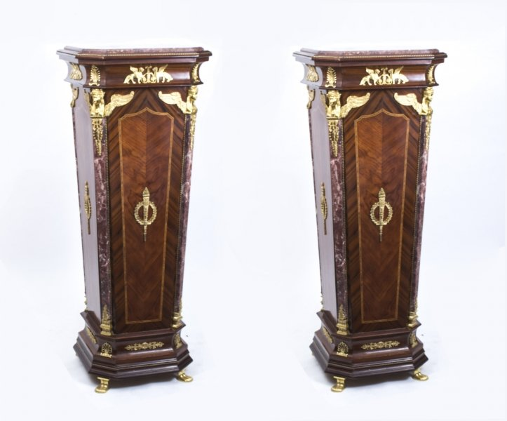 Pair of Exquisite Empire Style Marble Topped Pedestals | Ref. no. 01440p | Regent Antiques