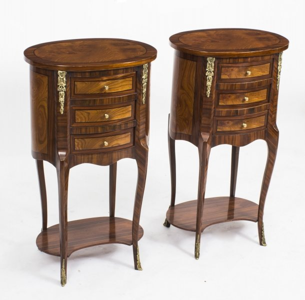 Pair Loius XVI Style Burr Walnut & Birdseye Maple Bedside Cabinets 20th C | Ref. no. 01489 | Regent Antiques