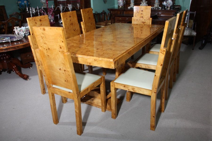 Stunning Art Deco Birdseye Maple Dining Table 8 Chairs