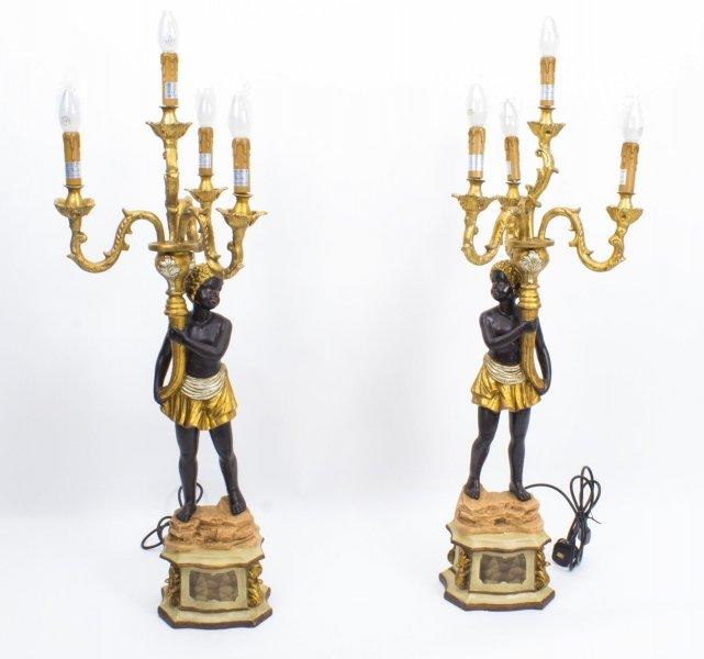957a9a732049 Stunning Pair of Blackamoor Candelabras Lamps
