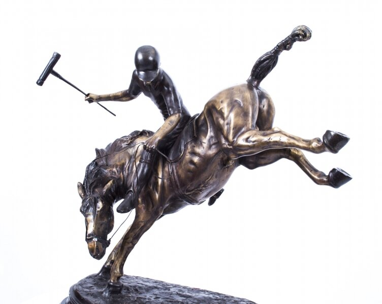 Bronze Sculpture of Polo Player on A Bucking Horse | Ref. no. 01643 | Regent Antiques