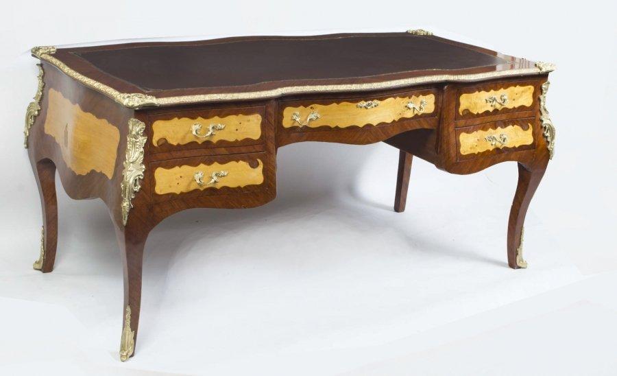 Bombe Louis XV Style Bureau Plat Writing Table Desk