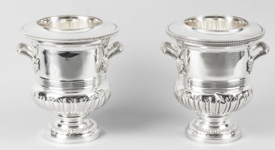 silver plate wine coolers | English silver champagne coolers | Ref. no. 01868 | Regent Antiques