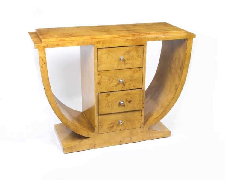 Beautiful art deco style birdseye maple console table for Table de nuit art deco