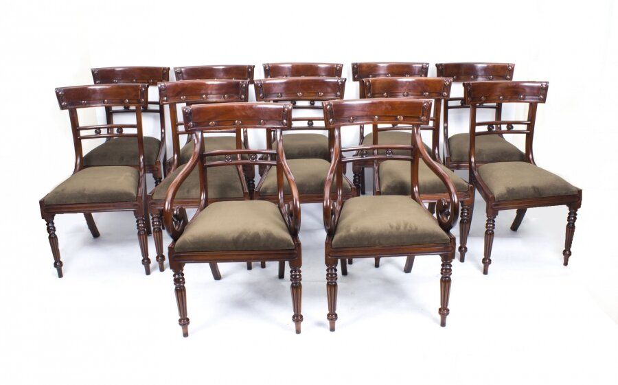 Set of 12 Bar Back Regency Style Chairs | Bar Back Dining Chairs | Ref. no. 01968a | Regent Antiques