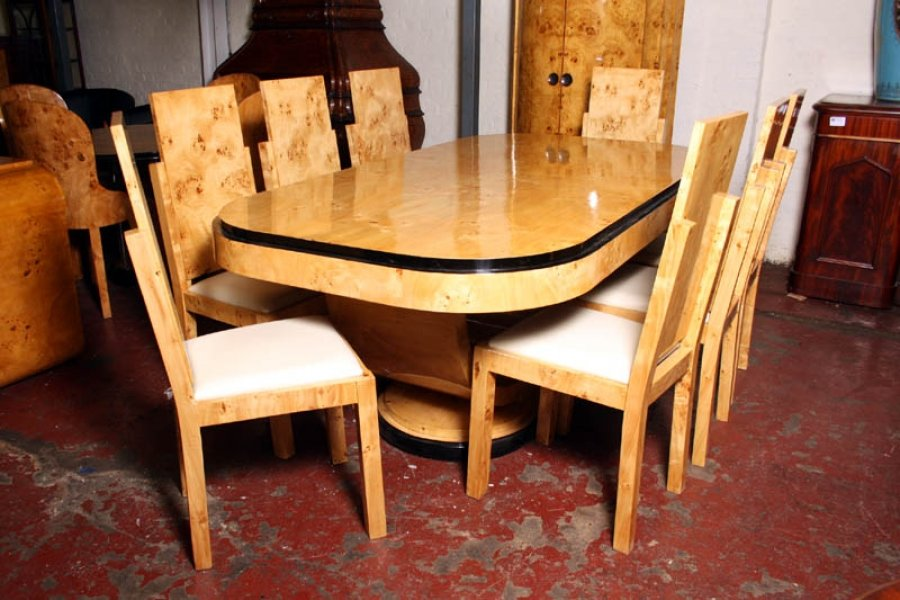 large art deco birdseye maple dining table 8 chairs art deco dining table 8