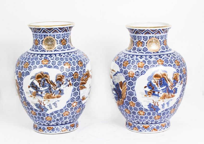 Pair Japanese Satsuma Hand Painted Porcelain Vases | Ref. no. 02109 | Regent Antiques