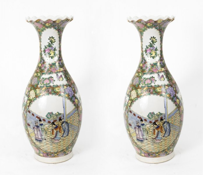 Pair Chinese Canton Hand Painted Porcelain Vases | Ref. no. 02124 | Regent Antiques