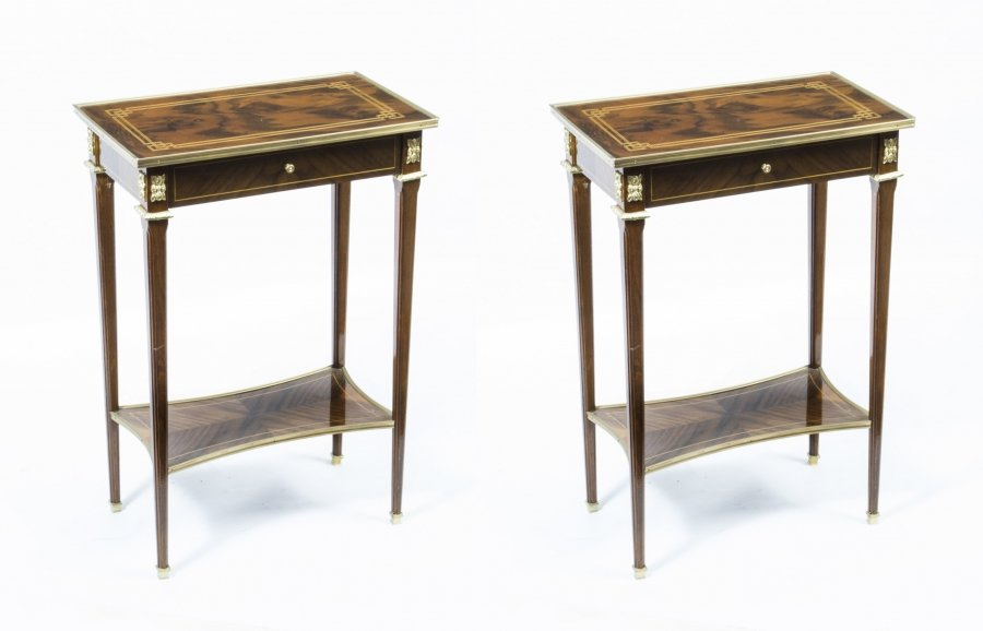 Pair Louis XVI Style Inlaid Walnut Occasional Tables | Ref. no. 02205 | Regent Antiques