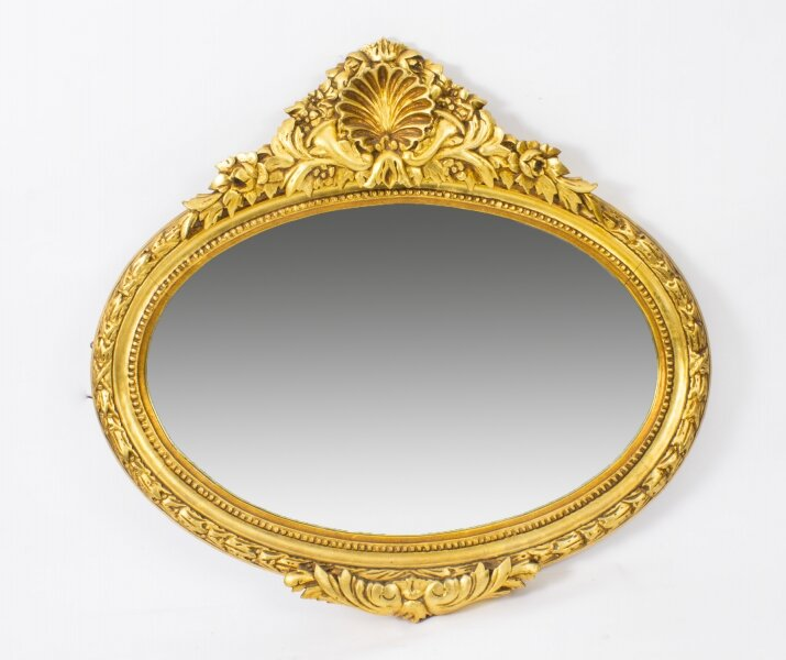 Stunning Giltwood Oval Carved Mirror Bevelled Edge 86 x 96 cm | Ref. no. 02221 | Regent Antiques