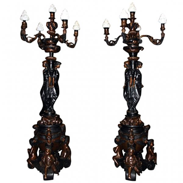 Pair French Empire Bronze Classical Lady Lamps | Ref. no. 02268 | Regent Antiques