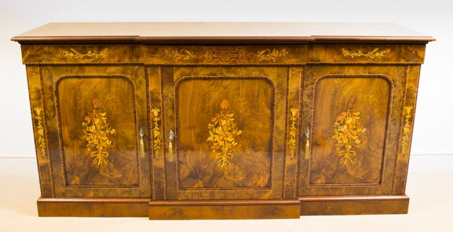 Superb Bespoke Burr Walnut Marquetry 3 Door Sideboard | Ref. no. 02300 | Regent Antiques
