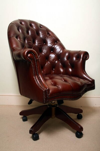 Bespoke English Hand Made Leather Directors Desk Chair Dark Brown | Ref. no. 02332 | Regent Antiques