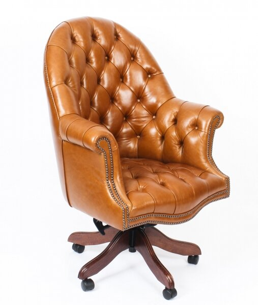 Bespoke English Hand Made Leather Directors Desk Chair Bruciato | Ref. no. 02332a | Regent Antiques