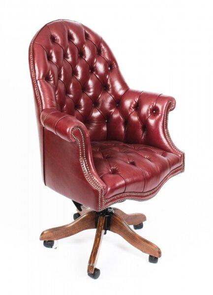 Groovy Bespoke English Hand Made Leather Directors Desk Chair Burgundy Machost Co Dining Chair Design Ideas Machostcouk