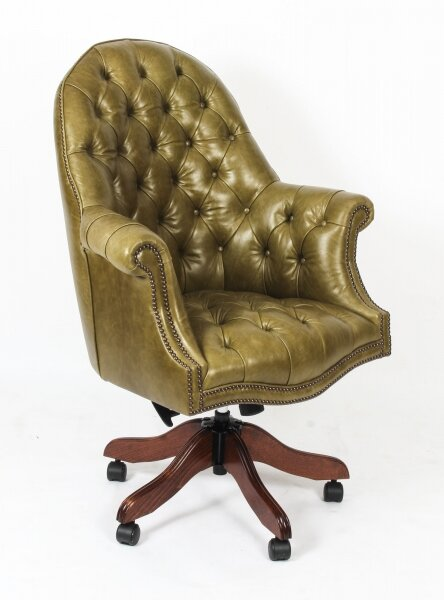 Bespoke English Hand Made Leather Directors Desk Chair Olive | Ref. no. 02332h | Regent Antiques