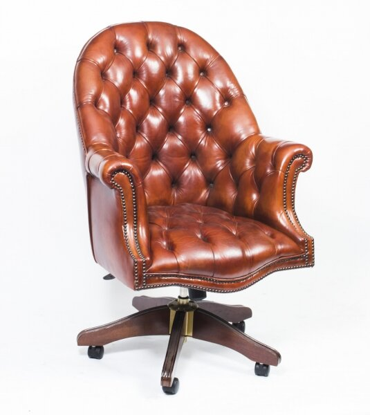 Bespoke English Hand Made Leather Directors Desk Chair Chestnut | Ref. no. 02334H | Regent Antiques