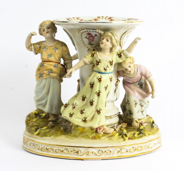 Lovely Dresden Style Hand-painted Vase Centrepiece Children Dancing late 20th C | Ref. no. 02390 | Regent Antiques