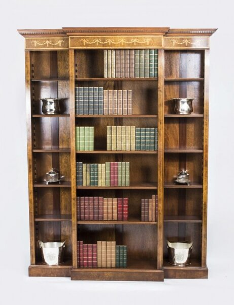 Bespoke Sheraton Revival Breakfront Burr Walnut Open Bookcase | Ref. no. 02512a | Regent Antiques