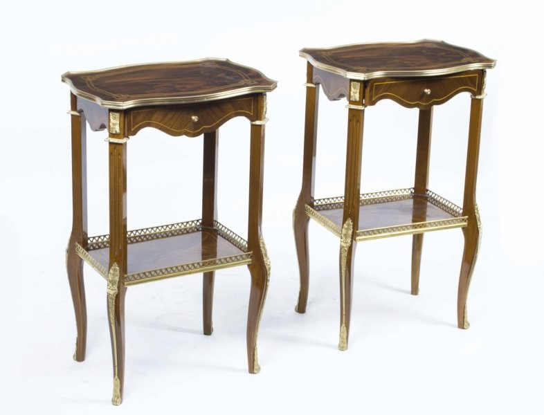 Pair Walnut Occasional Tables Parquetry and Ormolu | Ref. no. 02556b | Regent Antiques