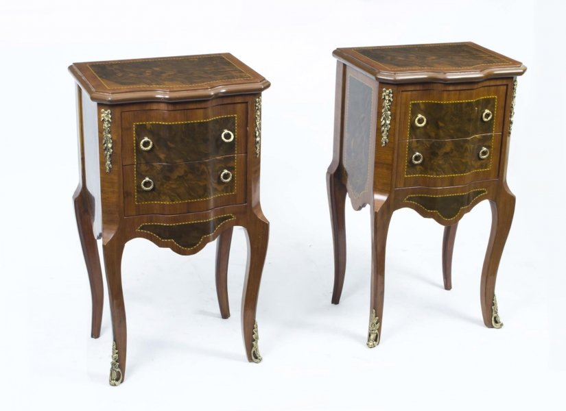 Stunning Pair French Empire Inlaid Burr Walnut Cabinets | Ref. no. 02563a | Regent Antiques