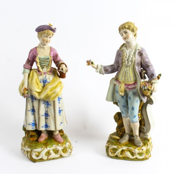 Pair Dresden Style Hand Painted Porcelain Figures late 20th Century | Ref. no. 02616 | Regent Antiques