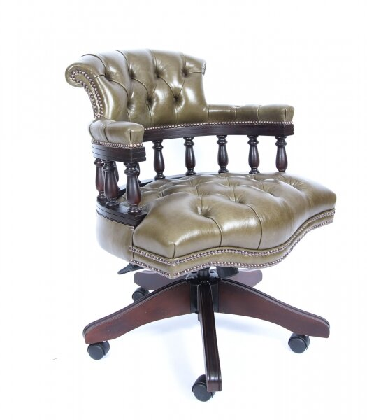 Bespoke English Hand Made Leather Captains Desk Chair Olive Green | Ref. no. 02839d | Regent Antiques