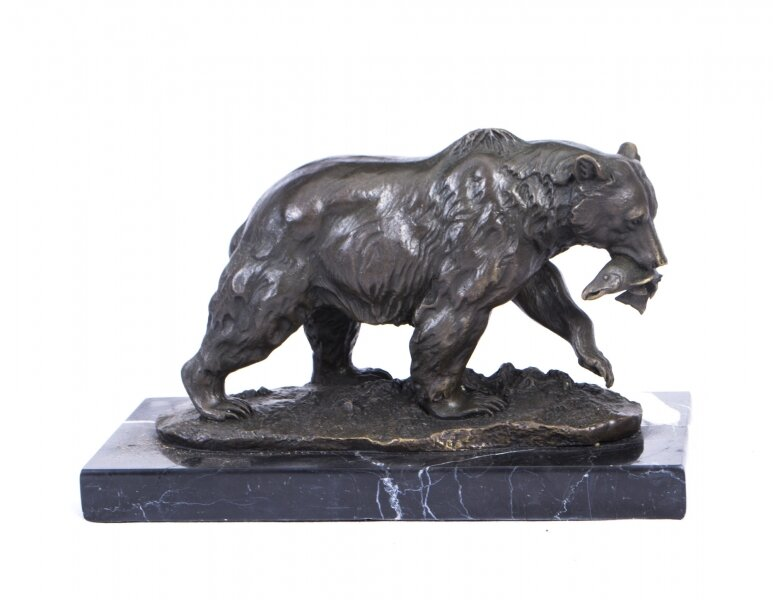 Bronze Statuette of a Wild Bear with Fish Milo | Milo Bronze Bear Statue | Ref. no. 02898 | Regent Antiques