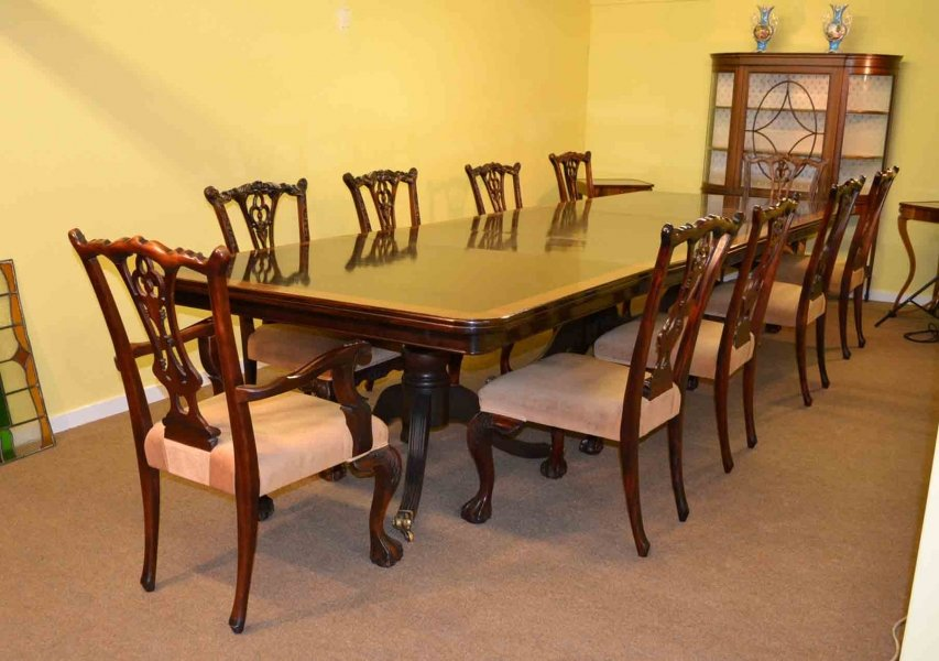 14 ft mahogany dining conference table 10 chairs for 10ft dining table
