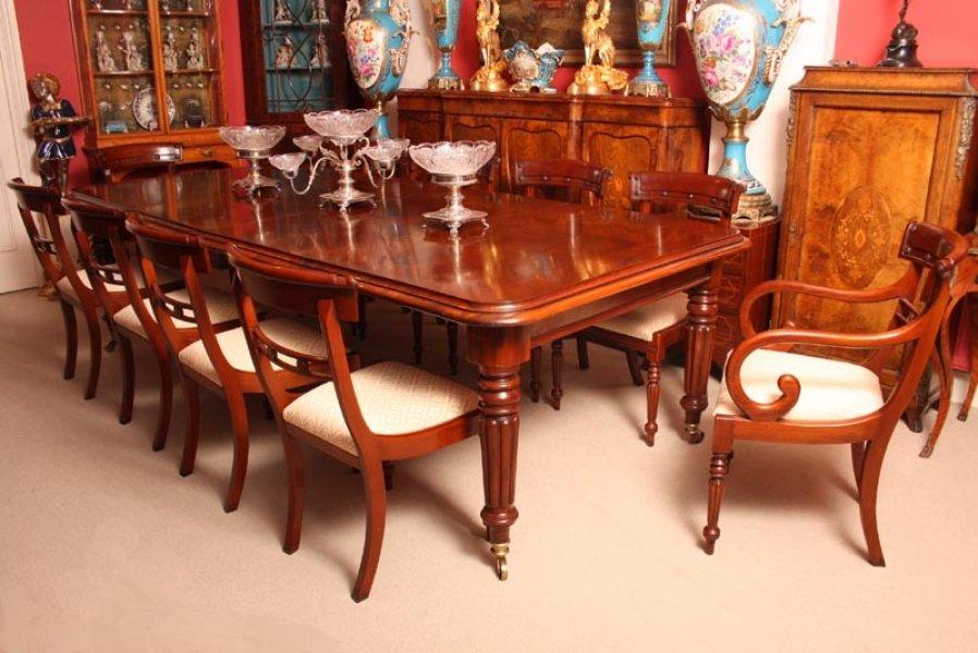 Grand English Regency Mahogany Dining Table 10 Chairs