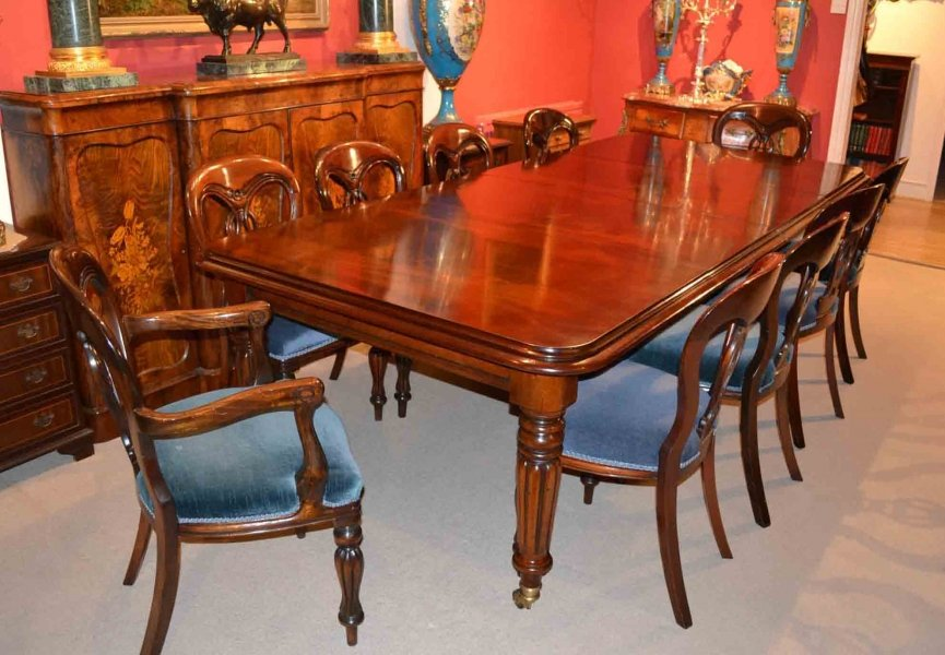 English Regency Dining Table 10 Fiddleback Chairs