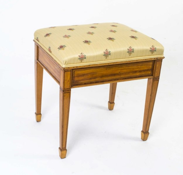 Antique Edwardian Inlaid Satinwood Stool c.1900 | Ref. no. 03027a | Regent Antiques