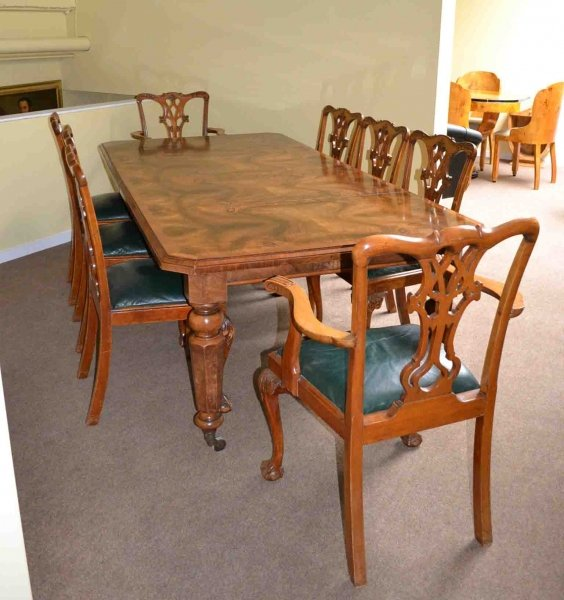 Antique Victorian Burr Walnut Dining Table 8 Chairs