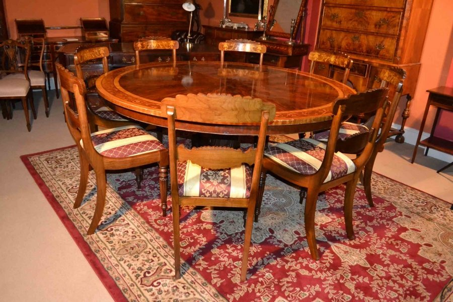 Vintage dining table 8 chairs 6 ft round mahogany for 6 foot round dining table