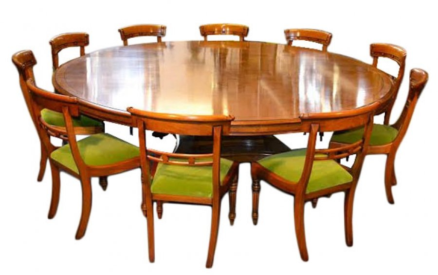 vintage dining set 8ft diam pollard oak table 10 chairs