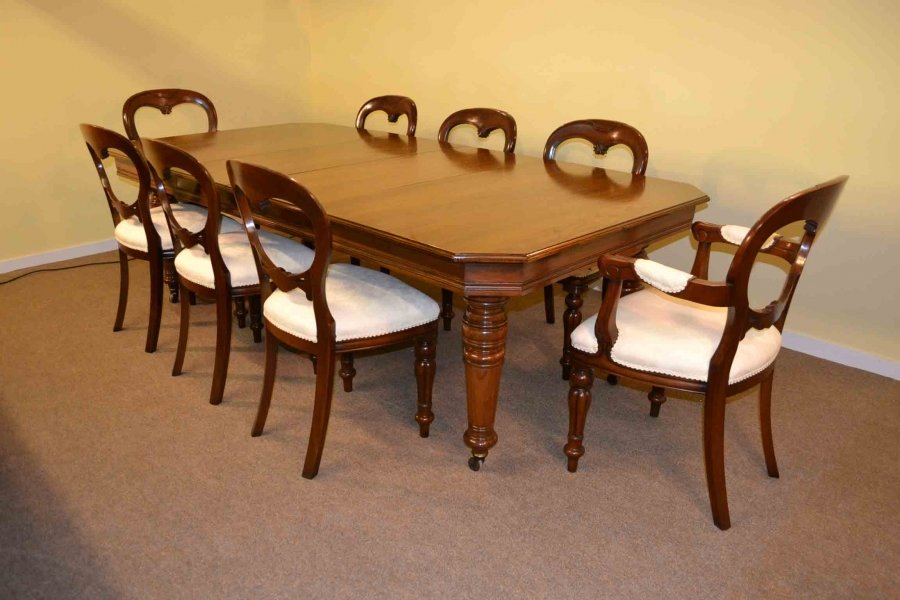 Antique Victorian Walnut Dining Table 8 Ft 8 Chairs