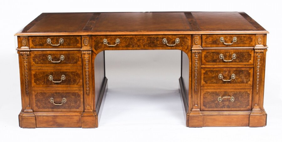 Beautiful bespoke Victorian Revival Burr Walnut Partners Pedestal Desk | Ref. no. 03242 | Regent Antiques