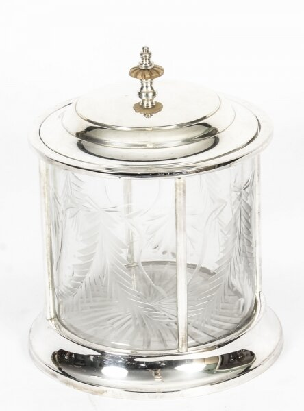 Vintage  Silver Plated & Cut Glass Biscuit Sweet Tea Box 20th C | Ref. no. 03319 | Regent Antiques