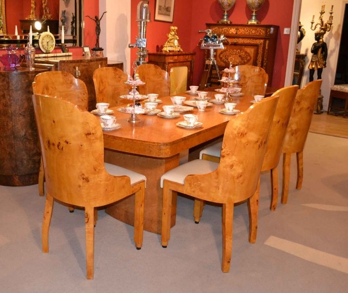 Maple Dining Chairs ~ Antique art deco birdseye maple dining table chairs