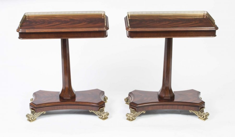 Pair Regency Style Mahogany Brass Gallery Occasional Side End Tables | Ref. no. 03915a | Regent Antiques
