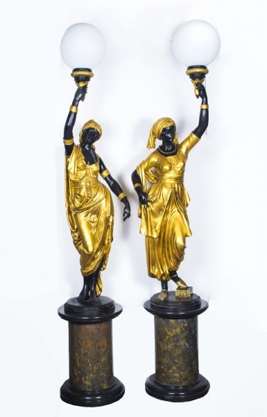 Pair 8ft Gilded Bronze Blackamoor Lamps on Stands