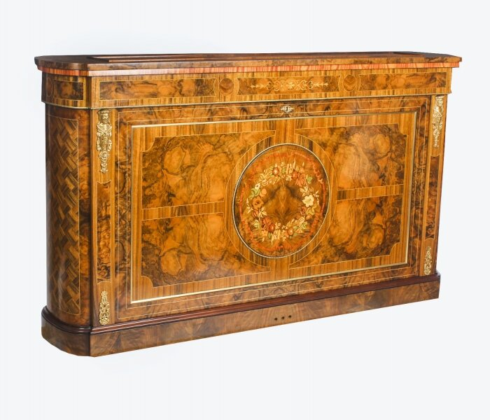 Bespoke Inlaid Burr Walnut & Marquetry TV Plasma Lift Cabinet | Ref. no. 03982a | Regent Antiques