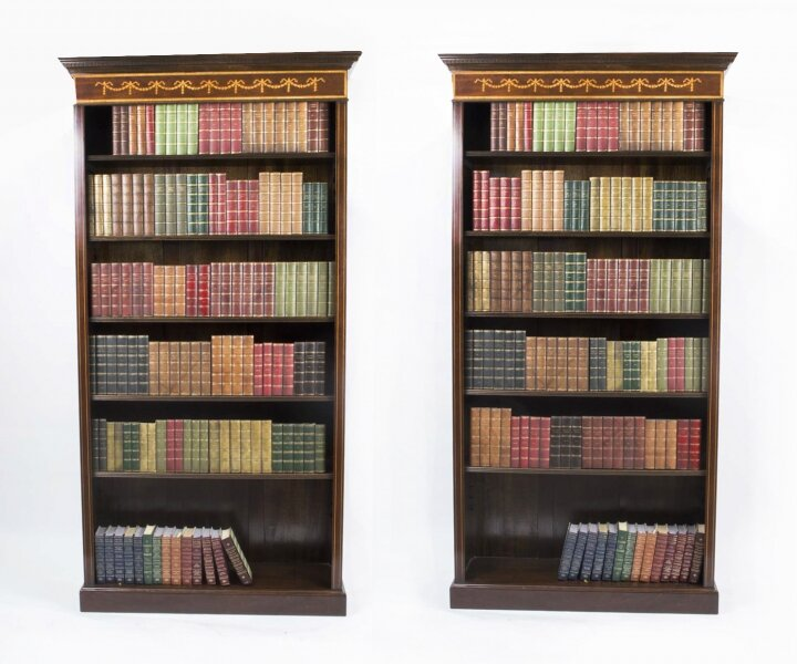 Pair Sheraton Style Open Bookcase Flame Mahogany | Ref. no. 04067a | Regent Antiques