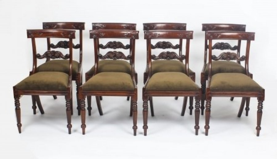 Set 8 Regency Style Mahogany Bar Back Dining Chairs | Ref. no. 04232h | Regent Antiques