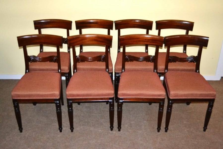 Set Of 8 Vintage Regency Dining Chairs Bar Back