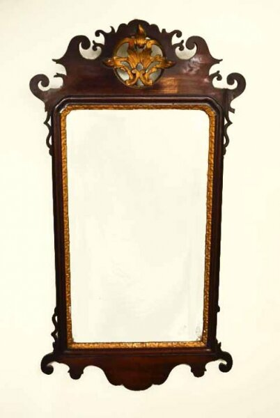 Antique George III Mahogany Parcel Gilt Wall Mirror 94 x 51 cm | Ref. no. 04572 | Regent Antiques